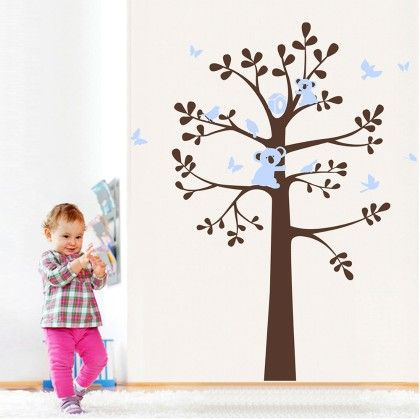 Uberlyfe Pretty Brown Tree,birds And Butterflies Wall Sticker