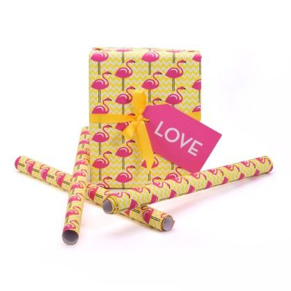 Flamingo Gift Wrapping Paper- Pack Of 4 Sheets - Magnolia Design