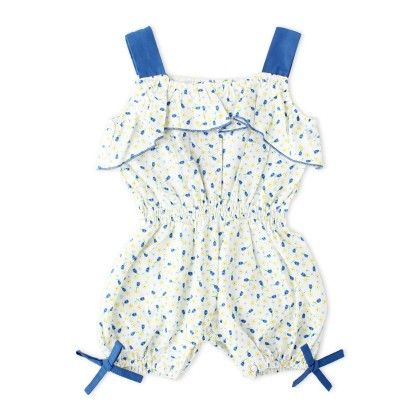 Blue Ditsy Print Baby Romper - Cupcake