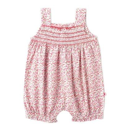 Red Ditsy Print Romper With Smocking - Cupcake