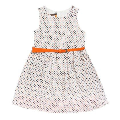 All Over Print Polka Dress With Belt Sleeveless - Orange - SUPER YOUNG