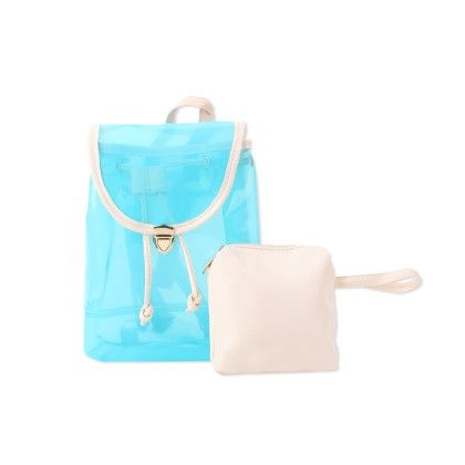 Cute Blue Backpack With White Pouch - CarryAll