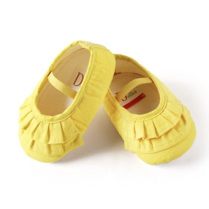 Dainty Little Ruffles Baby Girl Shoes Yellow - D'chica
