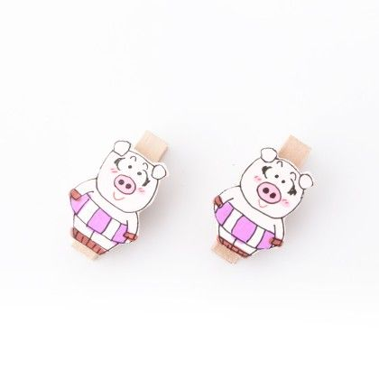 Pig Pair Of Wooden Clips Purple - Art Little Heart
