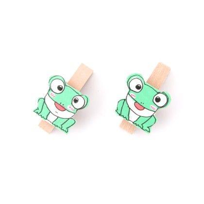 Frog Pair Of Wooden Clips - Fluoroscent Green - Art Little Heart