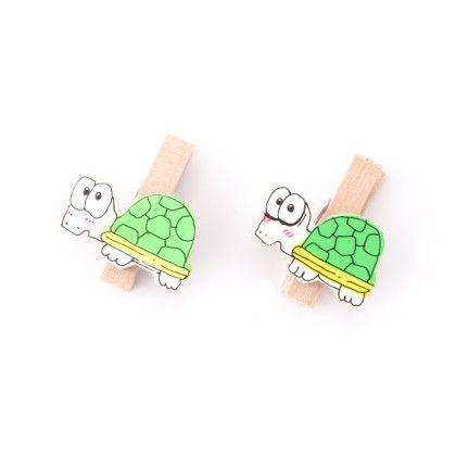 Turtle Pair Of Wooden Clips - Art Little Heart