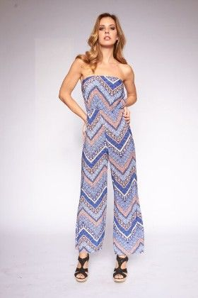 Blue Printed Strapless Jumpsuits - Lanadel