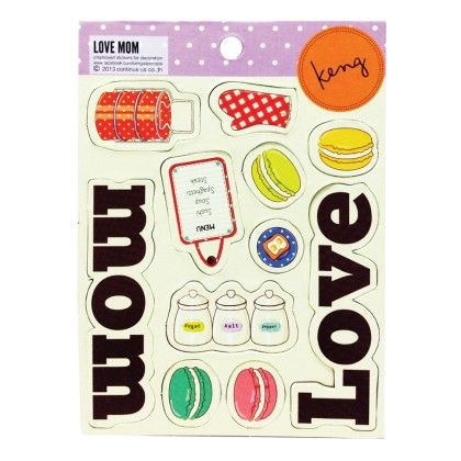Mini Chipboard Sticker For Decoration -  Love Mom - DIY By Keng