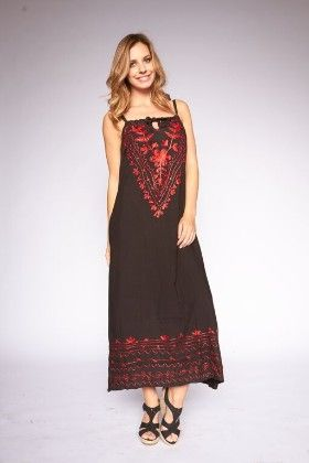 Floral Embroidered Bohemian Dress - Black - Lanadel