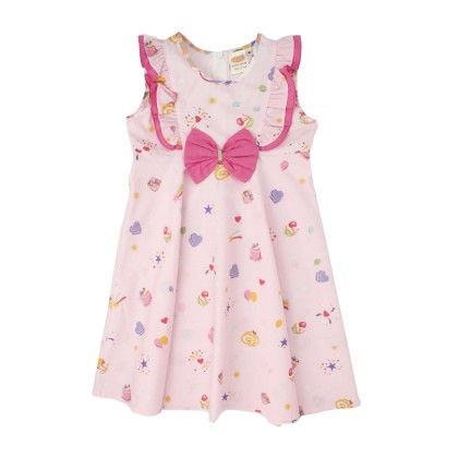 Pink Cupcake Print Layer Dress With Bow On Chest - Nena