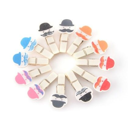 Set Of 12 Hatty Moustache Wooden Clips - Happy Gifts