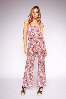 Multi Printed Strapless Jumpsuit - Lanadel
