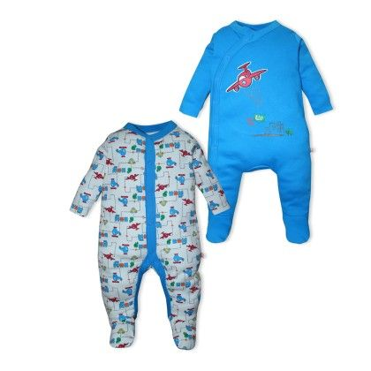 Core Pack Of 2 Sleepsuits - Blue - Mini Klub