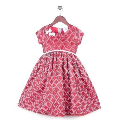Argyle Flocked Dress With Red Lining - Joe Ella