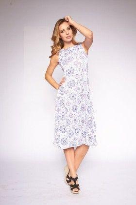 Women's Printed Midi Sundresses - White - Lanadel