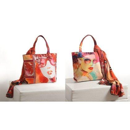 Swayam Digital Printed, Fashion Shopping Bag With Trendy Scarf (with Nice Motif)-5