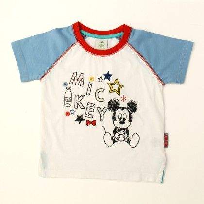 Disney Mickey Boy's Round Neck T-shirt - White - Kids Chakra