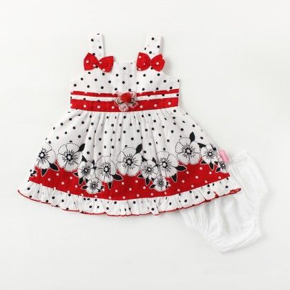Strappy Border Print Dress With Bows And Fancy Tissue Flower - Red - Chocopie