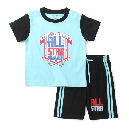 All - Star -half Sleeves Top & Bottom Set - Blue - Paritex