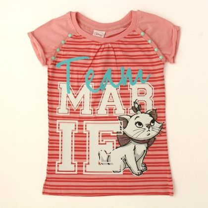 Disney Marie Girl's Round Neck T-shirt - Pink - Kids Chakra