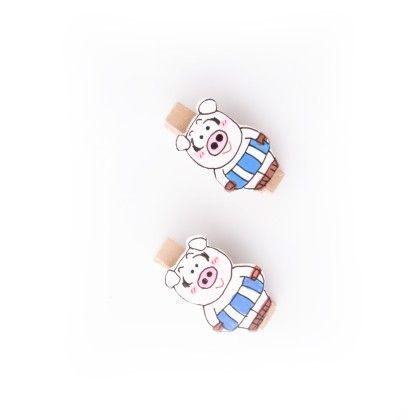 Pig Pair Of Wooden Clips Blue - Art Little Heart