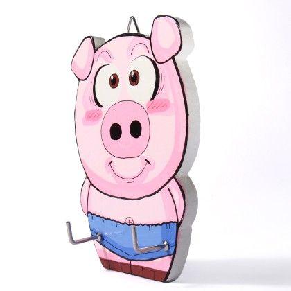Pig 2 Hook Wall Hanger - Art Little Heart