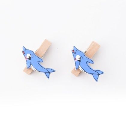Dolphin Pair Of Wooden Clips - Art Little Heart