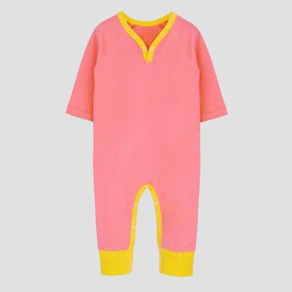 Salmon Pink- Yellow Long Sleeve Jumpsuit - A.T.U.N
