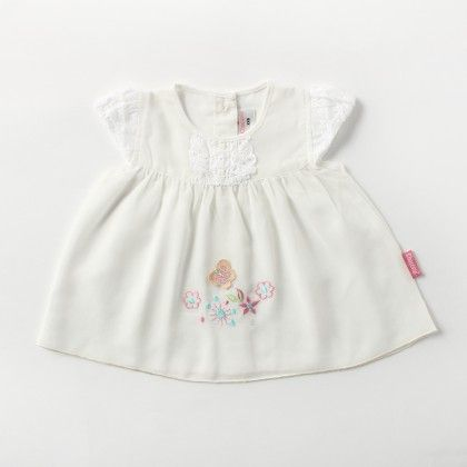 Cap Sleeve Voiyel  Dress With  Lace And Flower Applique Emb - Cream - Chocopie