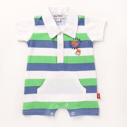 1 Pc Boys Romper - Blue & Green - Mickey