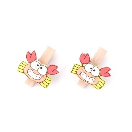 Crab Pair Of Wooden Clips - Art Little Heart