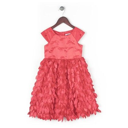 Satin Dress With Streaming Petals - Red - Joe Ella