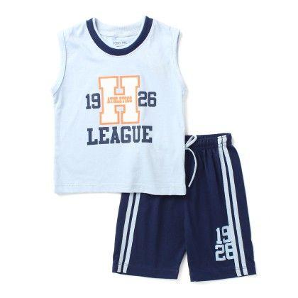 H League - Half Sleeves Top & Bottom Set - Blue - Paritex