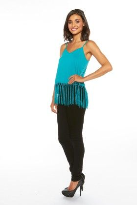 Women's Cami With Fringe Trim - Green - Lanadel