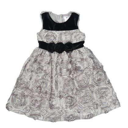 Texturized Satin Dress With Velour Trimming - Black - Joe Ella