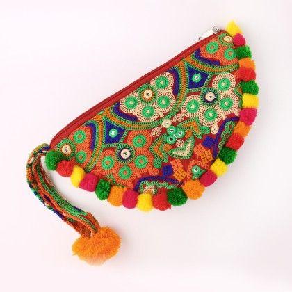 Ethnic Multi Color Embroided Wristlet Bag With Pom Pom - Jaipur Se