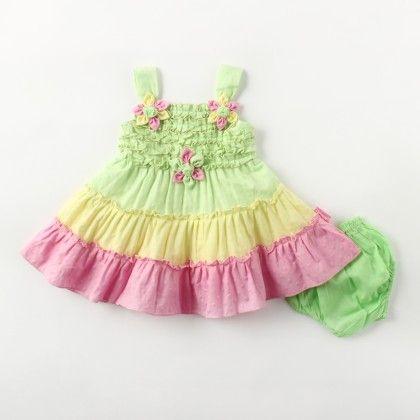 Sleeveless Multicolor Frills Dress With Hand Made Multi Flower - Green - Chocopie