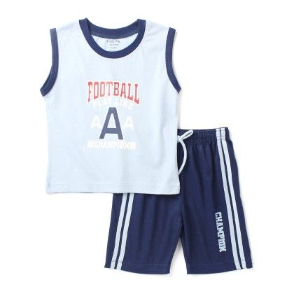 Football -sleeveless Top & Bottom Set - Blue - Paritex