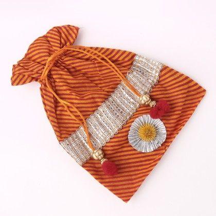 Orange Cotton Drawstring Potli Bags For Women's - Jaipur Se