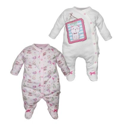 White And Pink Sleepsuits Pack Of 2 - FS Mini Klub
