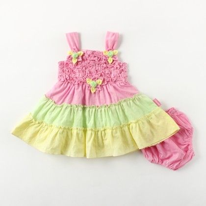 Sleeveless Multicolor Frills Dress With Hand Made Multi Flower - Pink - Chocopie
