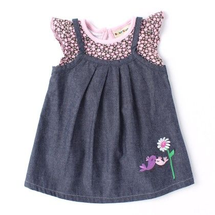 Denim Pinafore Dress With Floral Print Top - Gray - Baby Stone