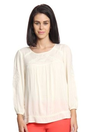 Women Off-white Embroidered Top - Cotton World