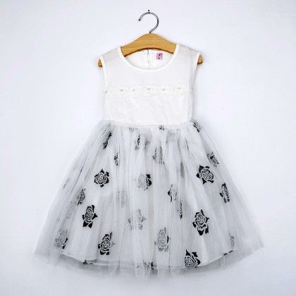 White Floral Print Tutu Dress - Emma