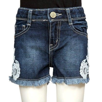 Dark Blue Denim Shorts With Lace Detail - Tales & Stories