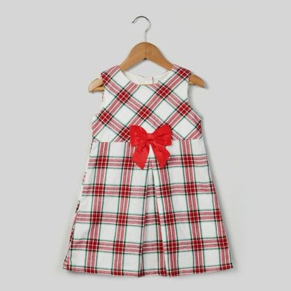 Bow Check Dress Red Check - Kid - Beebay