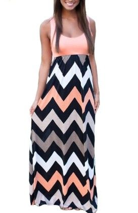 Colorful Sleeveless Wave Striped Full Length Summer Bohemia Beach Dress - Pink - KUFV