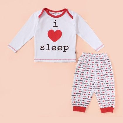 I Love Sleep Fs Pyjama Set - Tomato - Mini Taurus