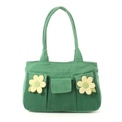 Oyster Kids Hand Bag In Green With 2 Flowers - Oysterkids