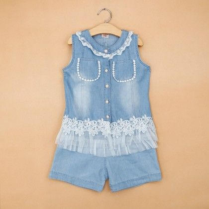 Denim Two Piece Set With Lace Work - Blue Bird